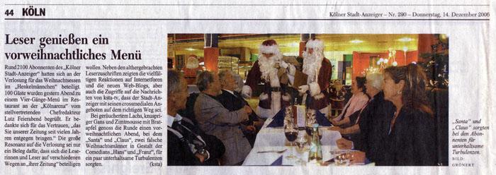 Weihnachtsmann Walkact klassisch Weihnachtsfeier Weihnachtsmarkt Christbaumschlagen